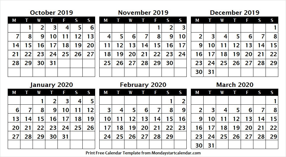 Calendar October 2019 to March 2020 Image