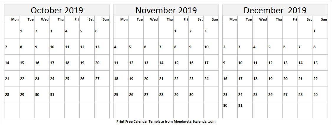 Free Calendar 2019 Oct Nov Dec