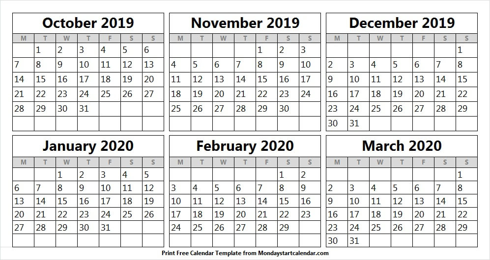 Free Calendar October 2019 to March 2020