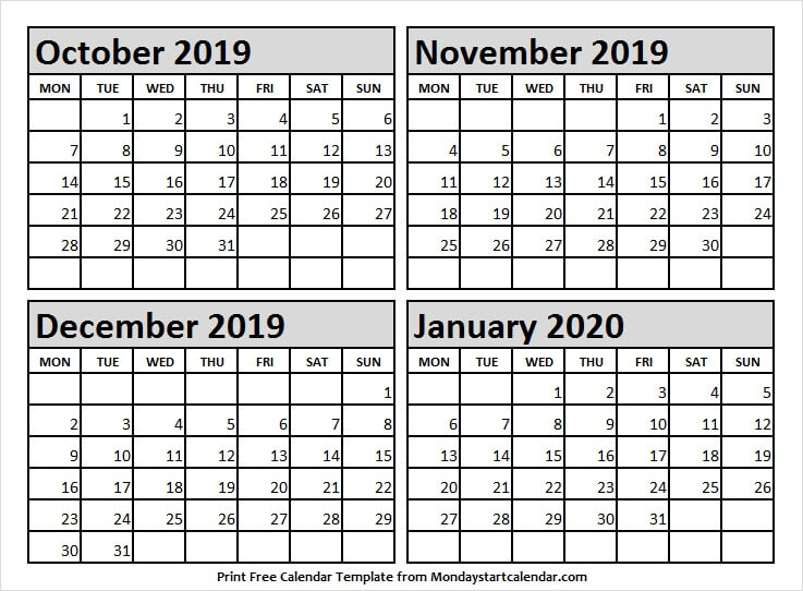 Oct Nov Dec 2019 Jan 2020 Calendar