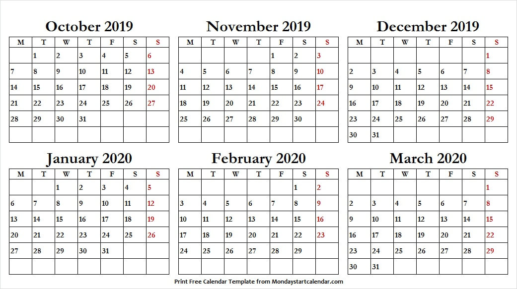 Oct Nov Dec 2019 Jan Feb Mar 2020 Calendar