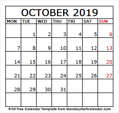 October 2019 Calendar Holidays and Events