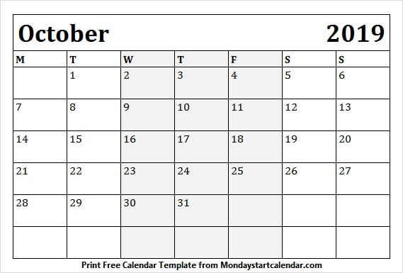 October 2019 Calendar with Holidays Canada Template
