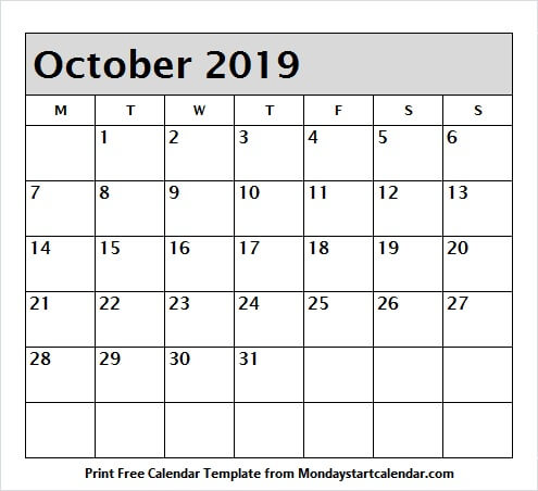 October 2019 Calendar with Holidays Printable Image