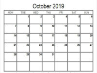 October 2019 Calendar with Holidays South Africa to Print