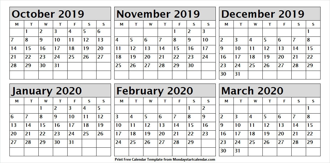 October 2019 March 2020 Template Calendar