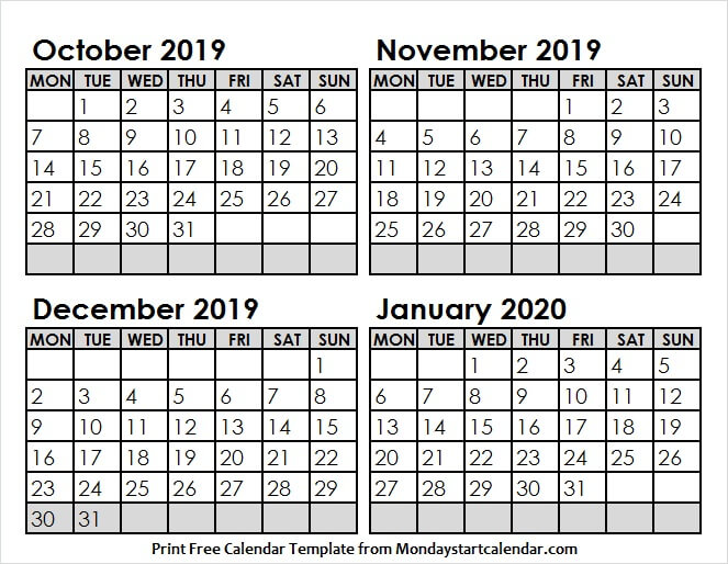 October 2019 to January 2020 Calendar with Lines
