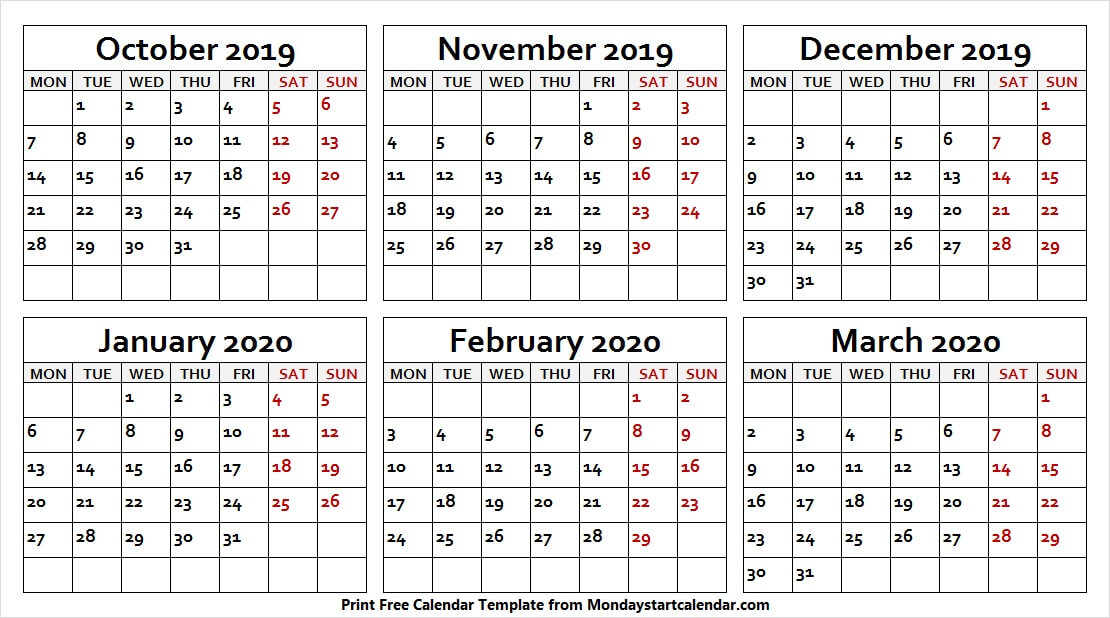 October 2019 to March 2020 Calendar PDF