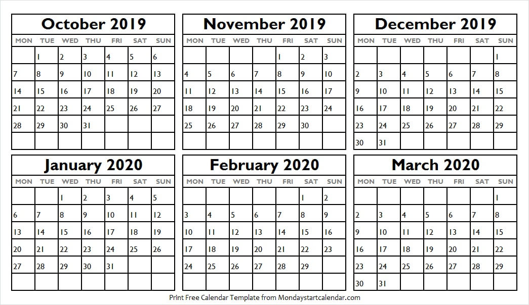 October 2019 to March 2020 Calendar to Print