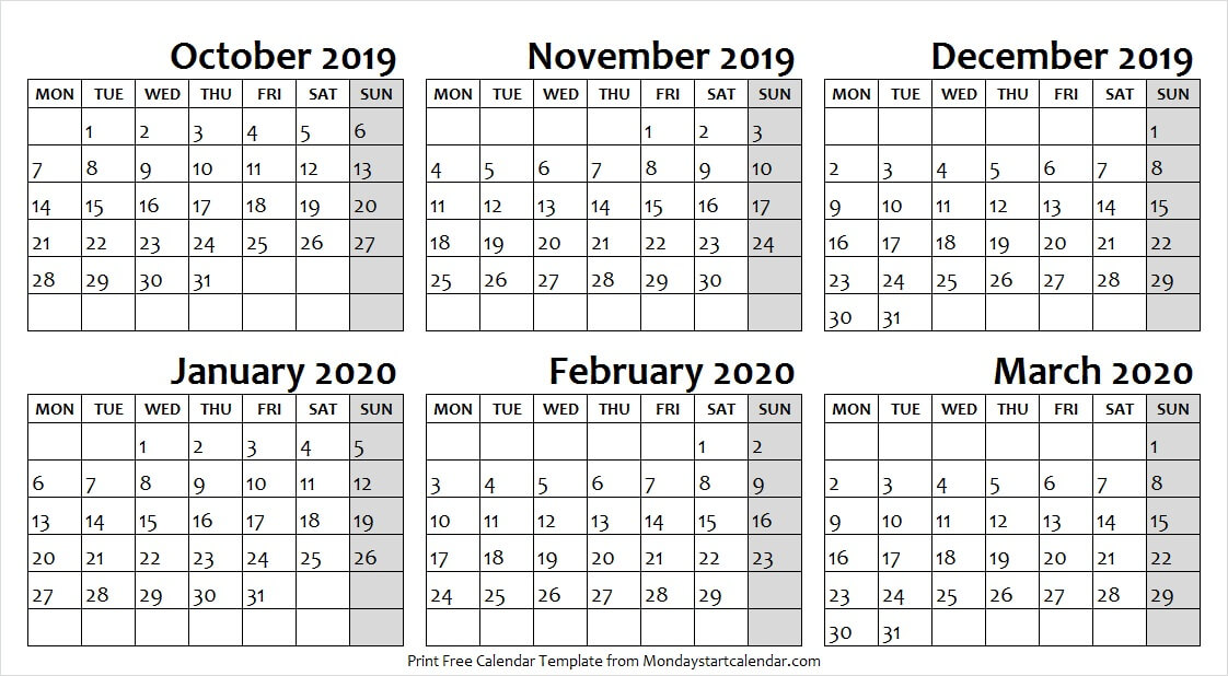 October 2019 to March 2020 Calendar with Notes