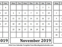 Portrait Calendar October November December 2019