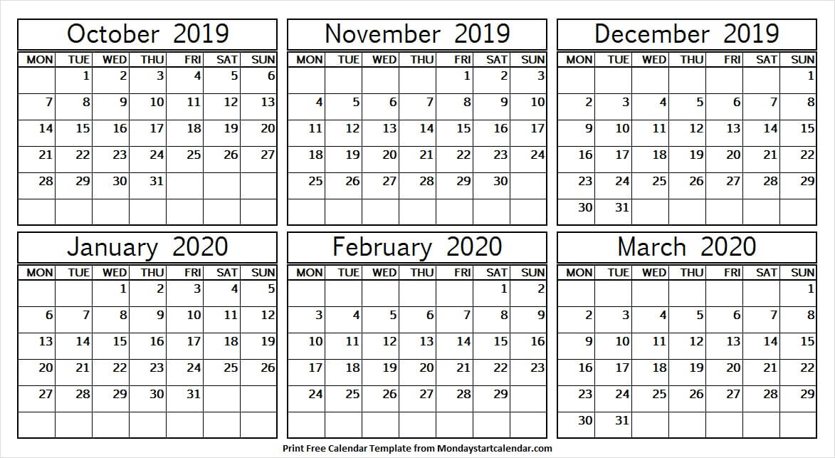 Six Month October 2019 March 2020 Calendar