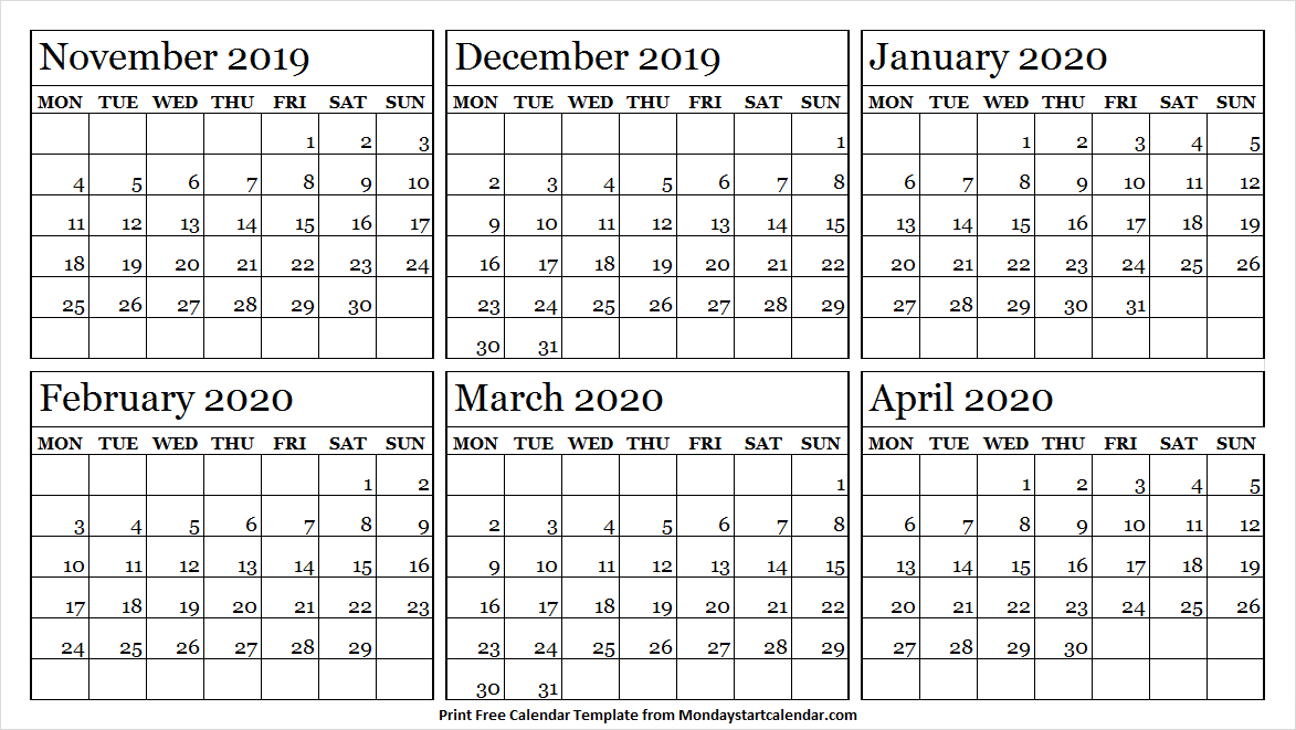 6 Month November 2019 To April 2020 Calendar Template