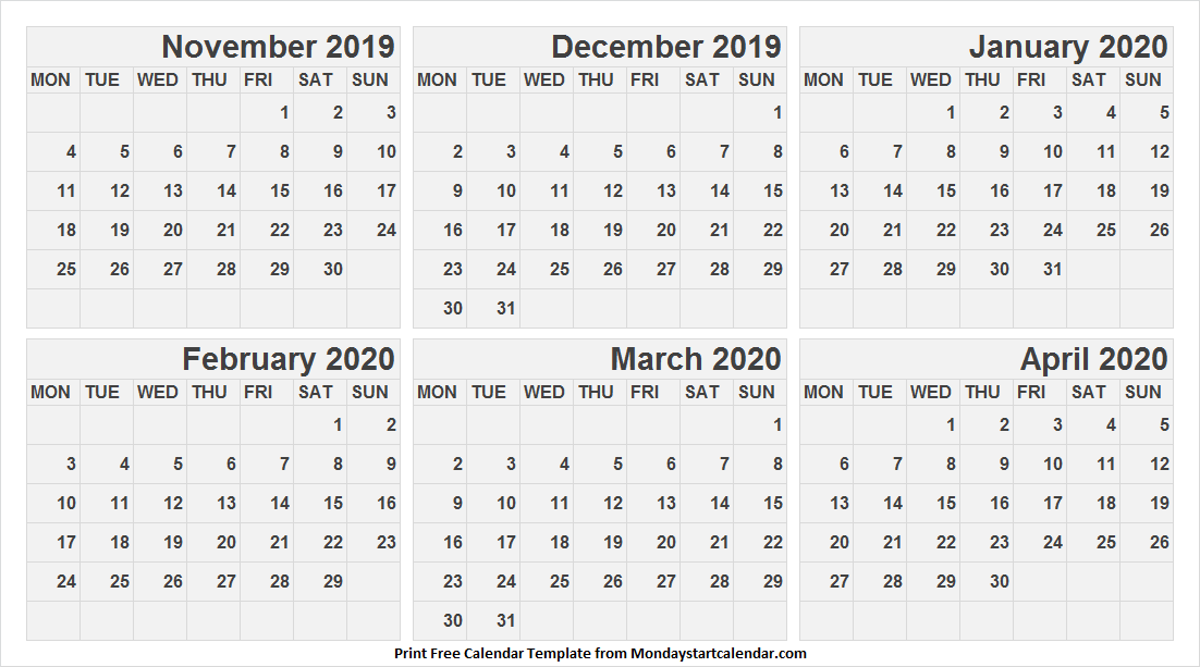 Blank Calendar 2019 Nov To 2020 Apr