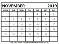 November 2019 Calendar Monday To Sunday