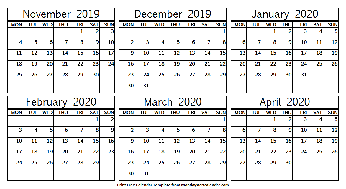 November 2019 To April 2020 Calendar Image
