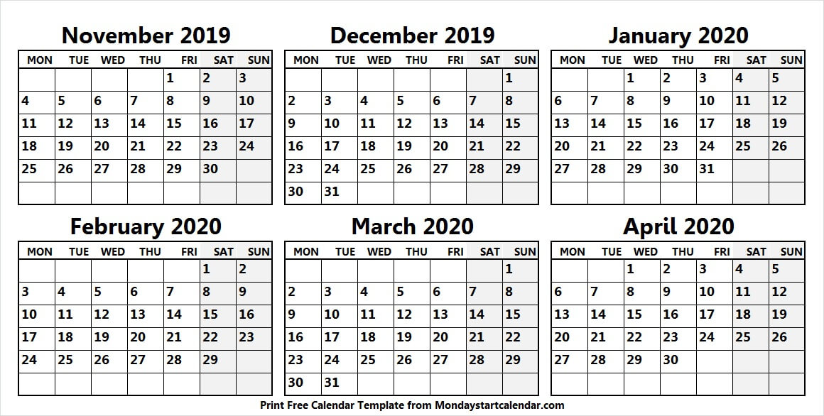 Print Calendar Nov Dec Jan Feb Mar To Apr 2020
