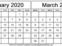 2020 February March Calendar Printable Free