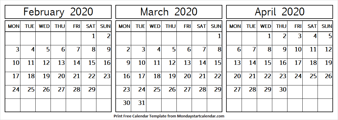 3 Month Calendar February March April 2020