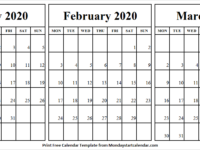 Blank Monthly Calendar January February March 2020