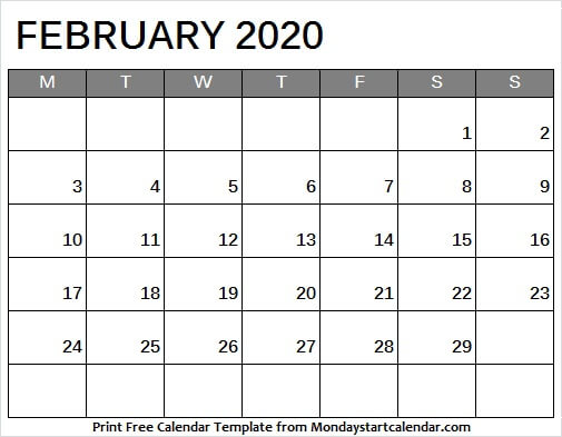 Calendar February 2020 Monday To Sunday