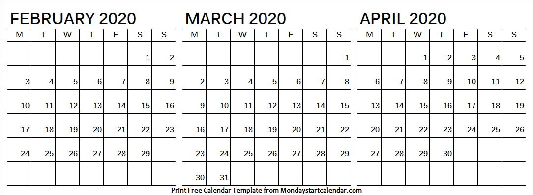 February March And April 2020 Calendar