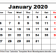 Calendar January 2020 Printable Monday To Sunday