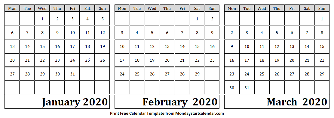 Calendar January February March 2020 Printable