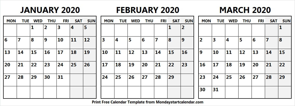 Calendar January February March 2020 Template