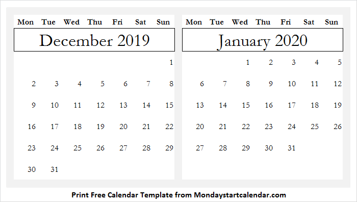 Calendar Month Of December 2019 and January 2020