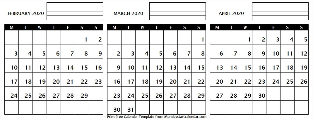 Cute February March April 2020 Calendar Printable
