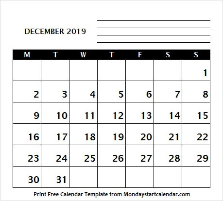 Dec Calendar 2019 With Holidays