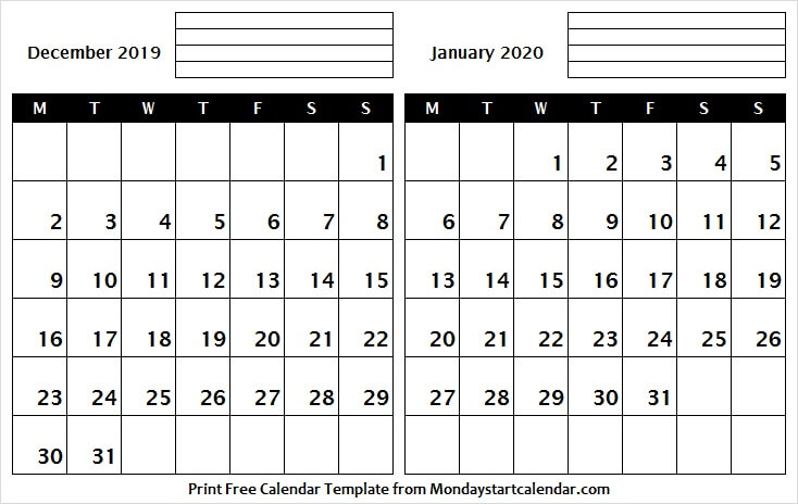December 2019 January 2020 Printable Calendar With Notes