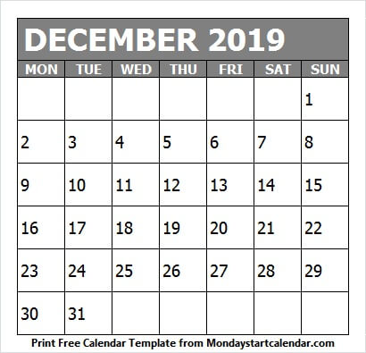 December 2019 Printable Calendar Colorful