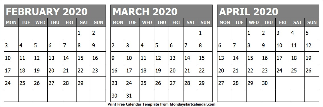 Editable February March April 2020 Calendar