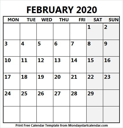 February 2020 Printable Calendar With Notes