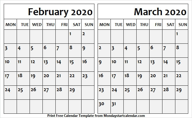 February March 2020 Calendar With Holidays