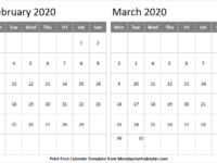 February March 2020 Calendar With Notes