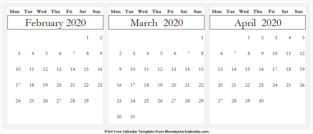 February March April 2020 Calendar Page