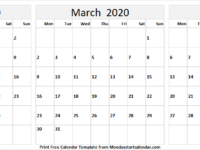 February March April 2020 Calendar Printable Template
