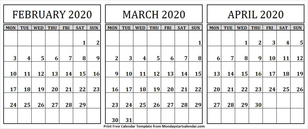 February March April Printable 2020 Calendar By Month