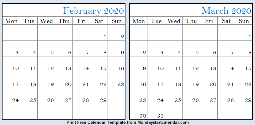 February and March 2020 Calendar Pdf