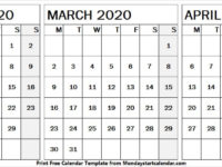 Free February March April 2020 Calendar Blank