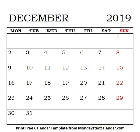 Free Printable December 2019 Calendar With Holidays