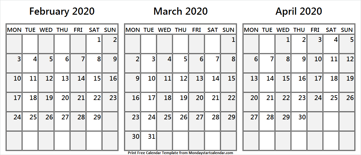 Free Printable February March April 2020 Calendar Monday Start