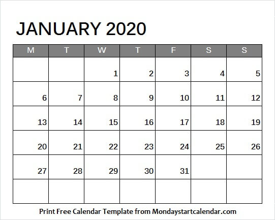 January 2020 Calendar Colorful