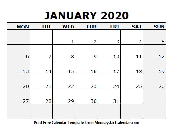 January 2020 Calendar Holidays