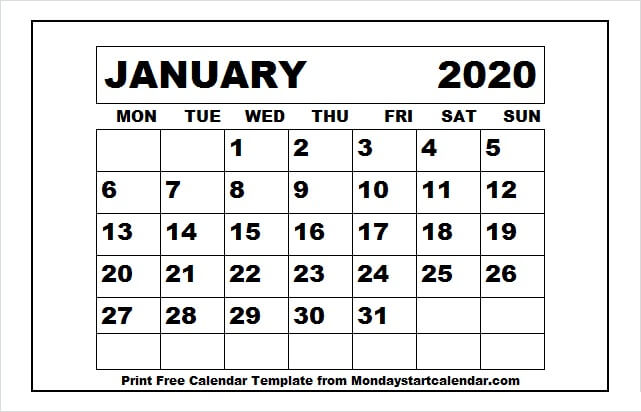 January 2020 Month Planner