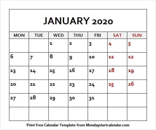January 2020 Printable Calendar Colorful