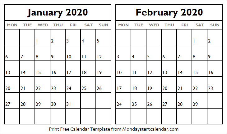 January February 2020 Calendar Office